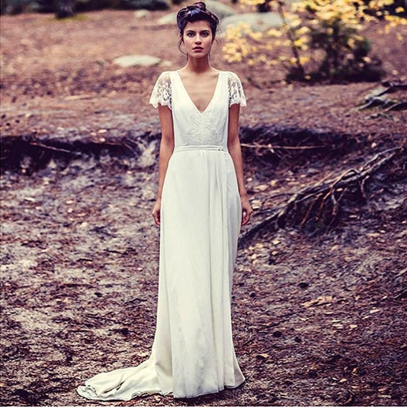 Casamento French Designers Vintage Forest Style V Neck Long Bride ...