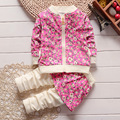 (4 sets/lot) New 2016 Children's Clothing Girls Clothing Sets Flower Baby Girl 2 pcs Sets Kids Fall Clothes 080207