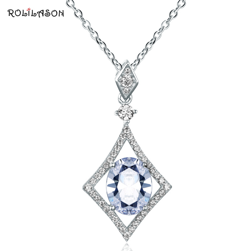 ROLILASON 1.7g Amazing Fashion real 925 sterling silver light blue Aquamarine necklace pendant chain jewelry for women SP38