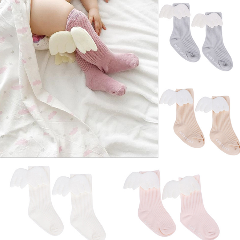 silverone Newborn Baby Knee High Socks Wings Pattern Stocking Cotton for Infant