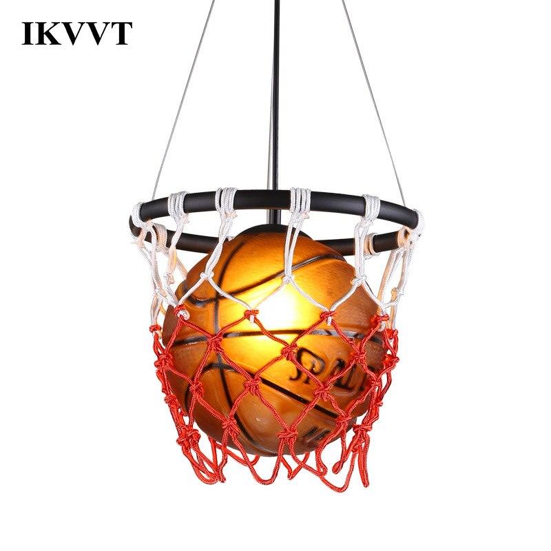 IKVVT pendentif LED lumières basket-ball verre pendentif lampe éclairage intérieur chambre salle à manger en métal luminaires pour la décoration intérieure