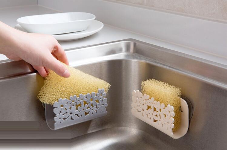 Kitchen Sink Suction Sponges Holder Scrubbers Soap Storage Rack Suction Cup Sponge Holder Kitchen Bathroom Drying Rack Toilet