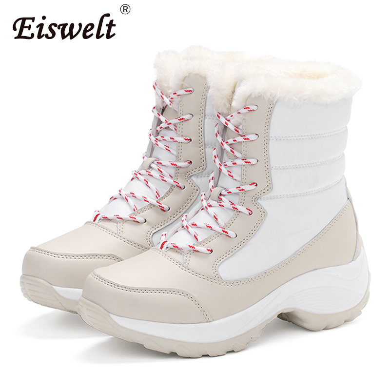 EISWELT 2017 Women Winter Boots Warm Plush Mid-calf Female Bota Lace-up Snow Boots Wedges Heel Shoes Plataform#ZQS259 double buckle cross straps mid calf boots