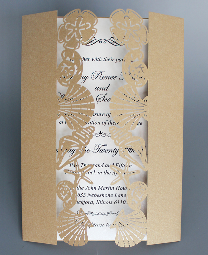 online shop beach wedding invitation with shell starfish gold