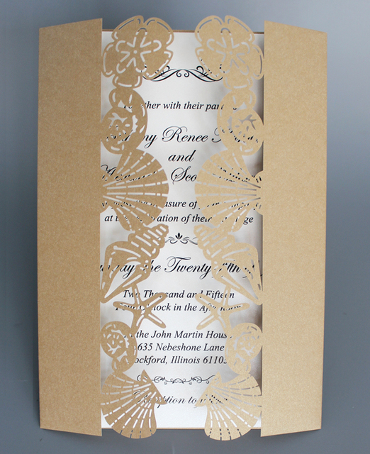Beach Wedding Invitation With Shell Starfish Gold Birthday Seaside Set Of
