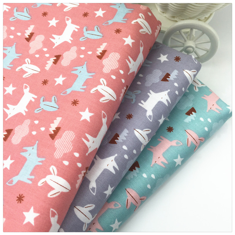 Cartoon fox print 100 twill cotton fabric tissue for diy for Cotton sewing material