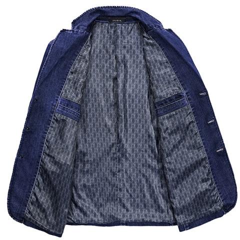 Fashion Jeans Blazers Men Business Casual Slim fit Suits Jacket hombre Cotton Multi-pocket Denim Blazer masculino Size L-3XL Islamabad