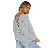 Sexy Backless Knitting Pullover Fashion Lace Up Autumn Winter Sweater Women Tops Casual Hollow Out Jumper