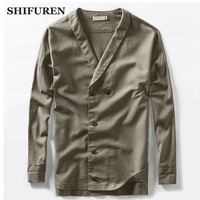 SHIFUREN 2018 New Men Linen Cotton Jacket Retro Traditional Chinese Style Male Long Sleeve Double Breasted Coats Size M 3XL