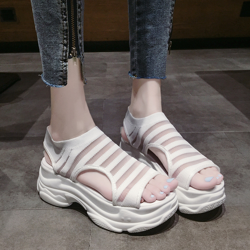 Elastic Belt Sports Sandals Summer New Women's Shoes Women's Thick Bottom Fish Mouth Mesh Sandals Stretch Fabric Beach shoes 30