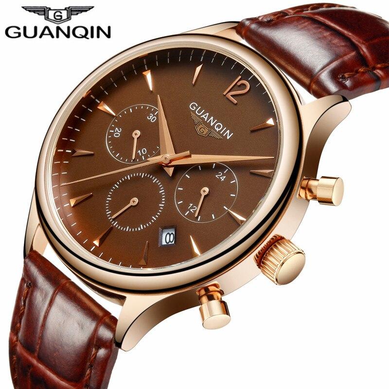 Prix pour Mens Montres Haut Marque De Luxe GUANQIN Mode Hommes Sport Chronographe Horloge Bracelet En Cuir Brun Quartz Montre Relogio Masculino