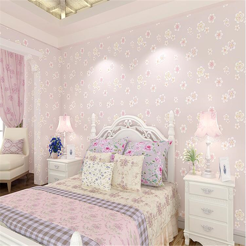 beibehang Fashion Girl Pink Pastoral Flowers 3D Non-woven 3d Wallpaper Kids Room Princess Room Bedroom Romantic Wallpaper Pink beibehang warm pink girl room wallpaper children s room non woven three dimensional love childrens clothing shop wallpaper