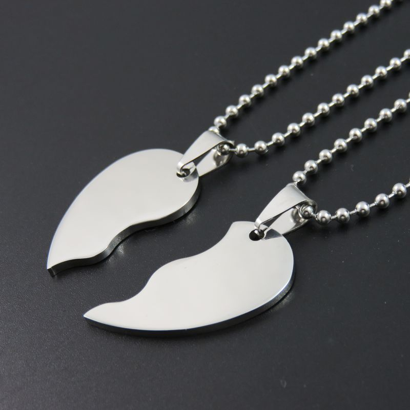 Two Part Love Heart Dog Tags Stainless Steel Blank