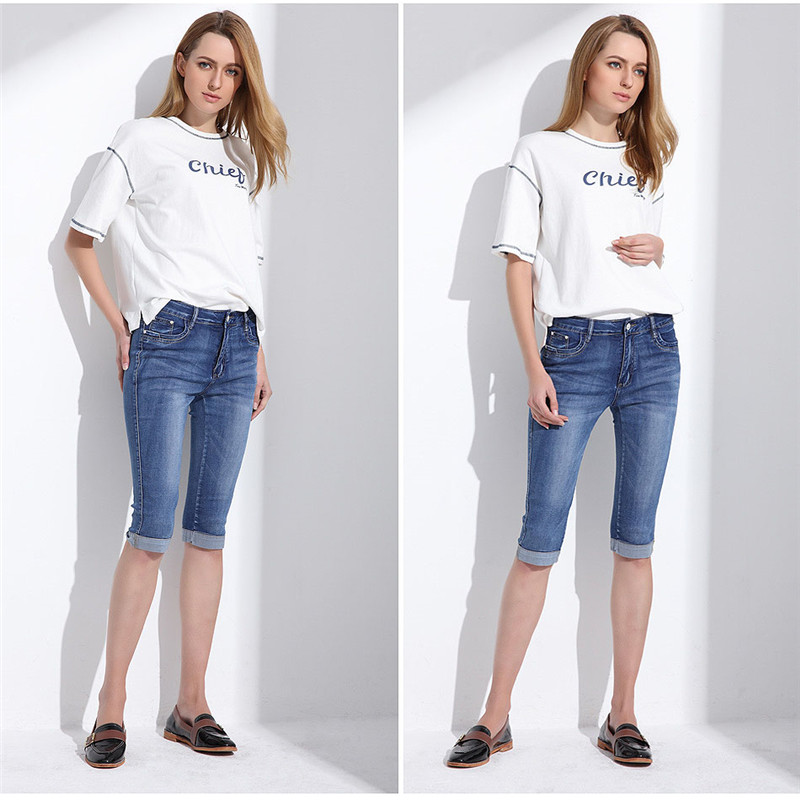 Women Summer Jeans Capris Cropped Trousers Stretch High Waist Casual Pants Female Slim Fashion inc new solid white women s size 0 knitted capris cropped pants $59 056