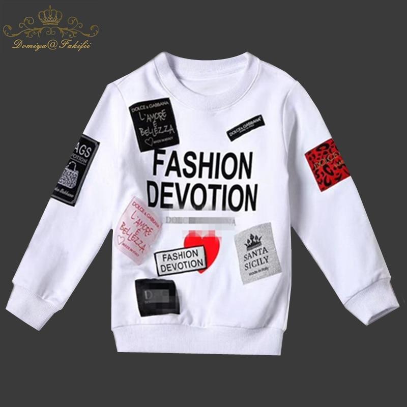 все цены на Girls Boys T-Shirt 2018 Autumn Brand Baby Girls Full T-Shirt Cute Letter Print Shirts Children Clothing Blouse Girls Sweatshirts