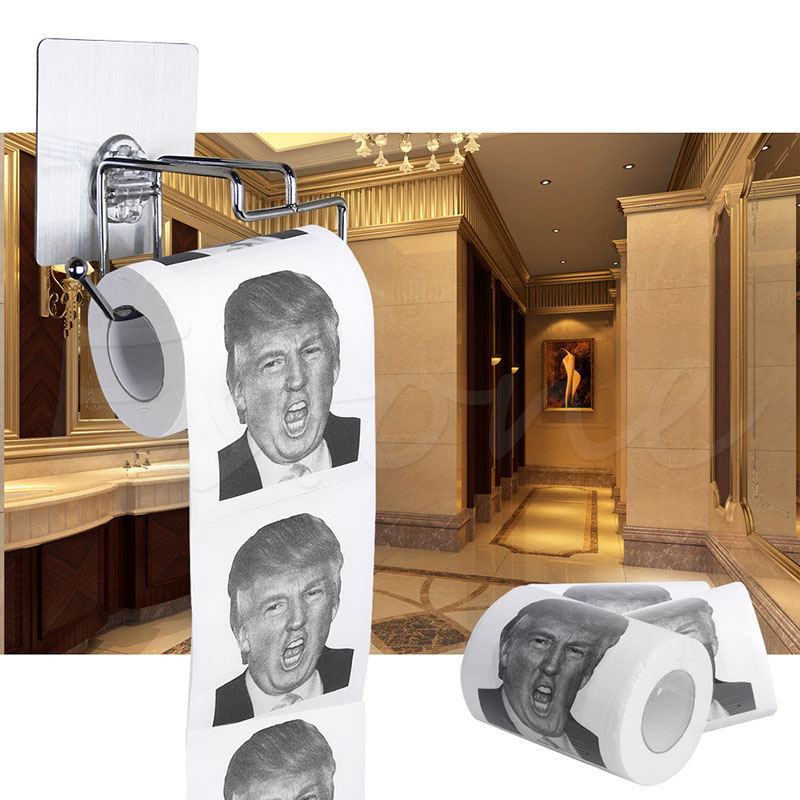 Горячая Дональд Трамп улыбка 3ply 150 листов туалетной бумаги рулон Новинка Забавный кляп подарок