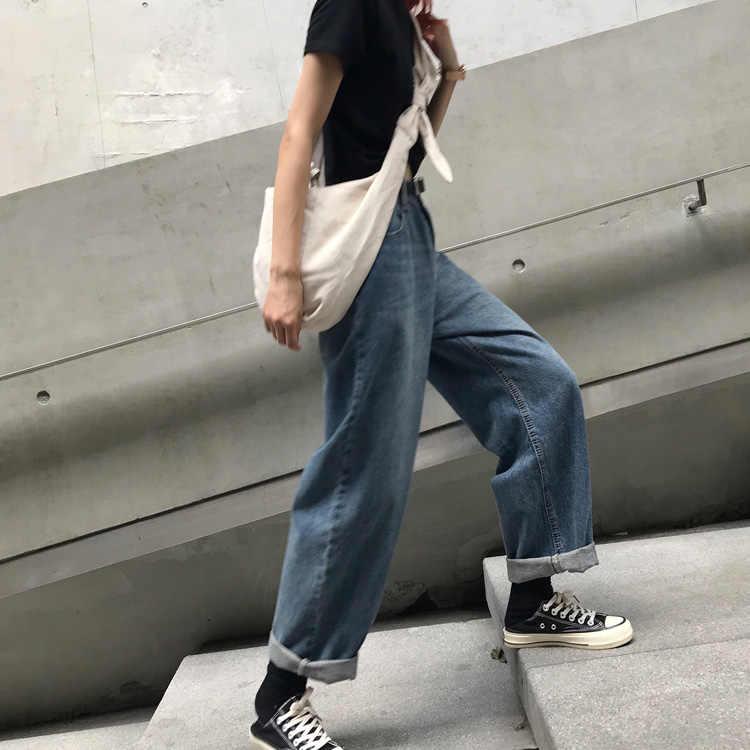Mihoshop Ulzzang Корейская женская модная одежда осень Высокая талия повседневные опрятные джинсовые ковбойские прямые джинсы брюки
