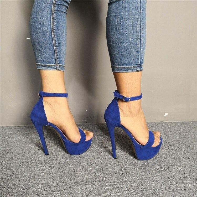 Fashion Women Sandals Platform Heel Stiletto Sandals Blue Shoes Plus Size 4-20