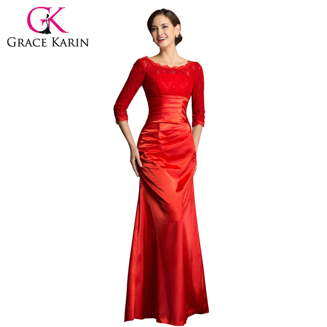Free Shipping Grace Karin Special Designer 3 4 Sleeve Lace Evening Dress  Long Red and Black Elegant Formal Gown 4524 145d8ddb59a8