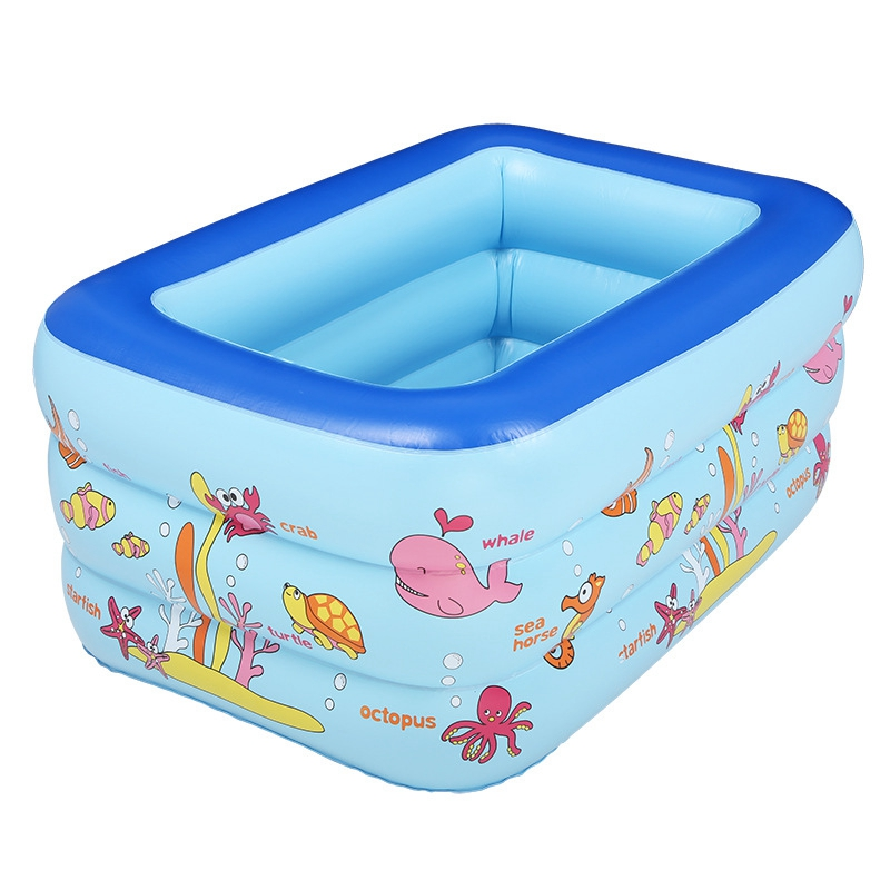 Inflatable pool rectangle 3layer cartoon children for Swimming pool 120 cm tief