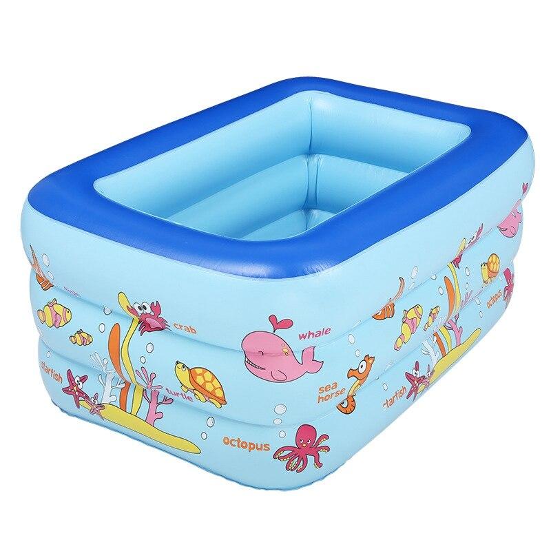 Piscine gonflable Rectangle 3 couches dessin animé enfants éclaboussures sable baignoire Portable bébé piscine enfant baignoire 160x120x60 cm
