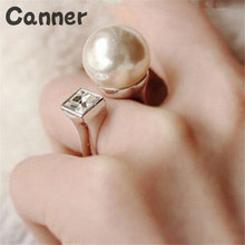 Canner Fashion White Round Simulated Pearl Beads Big Rings For Women Luxury Adjustable Wedding Ring Female Jewelry