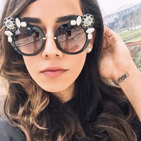 RSSELDN New Artificial Crystal Embellishment Cat Eye Sunglasses Women Luxury Fashion Summer Sun Glasses For Women