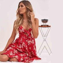 купить women clothes 2019 dress sexy top Summer new women's wear sexy open-back printed tie butterfly breast tie dress онлайн