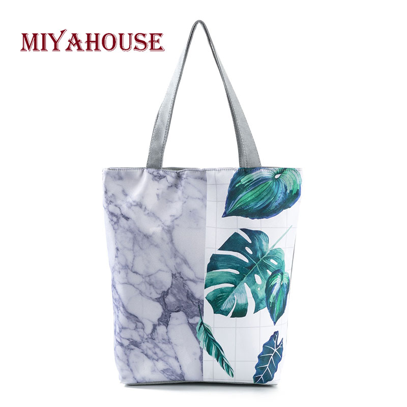 Sale Canvas Tote Bags Leaves Printing Beach Bags Female Summer Style Single Shoulder Shopping Bag