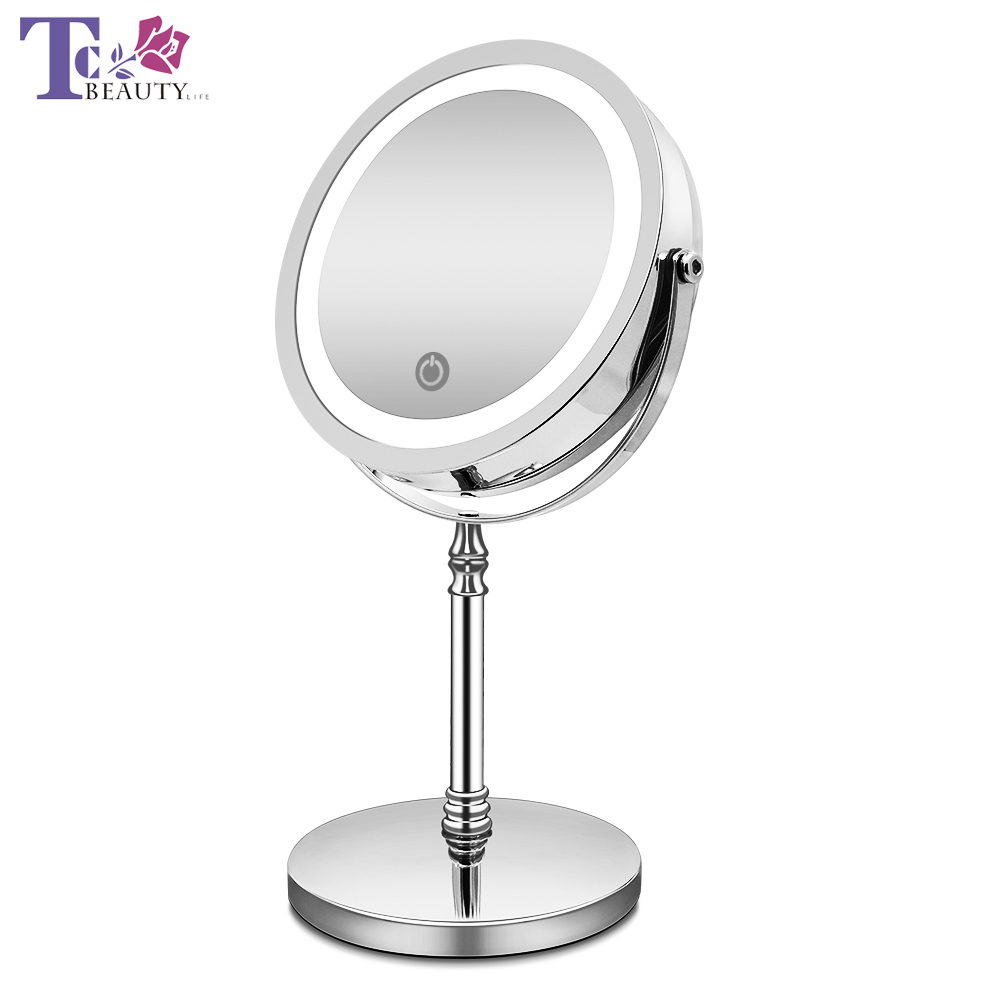 Makeup Mirror with Lights 10X Magnification Double Sided Vanity Mirror USB Charging Touch Dimming Bath Mirrors