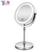 Espelho de maquiagem com luzes 10x ampliação dupla face espelho vaidade usb carregamento toque escurecimento espelhos banho presente para girll