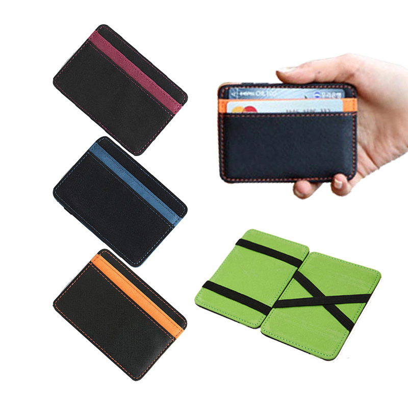 2020 New Brand Men's Leather Magic Wallet Money Clips Thin Clutch Bus Card Bag For Women Small Cash Holder Slim Man Purse