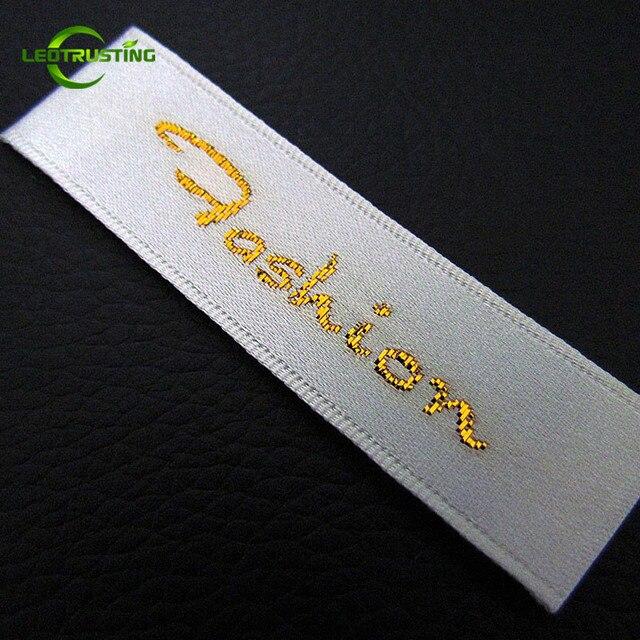 Étiquettes de vêtements tissés en or 2000 pièces | Étiquettes de vêtements personnalisables avec découpe et pliage, étiquettes de veste/robe de mariée brodées et personnalisées