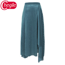 New Arrival Summer Autumn Women Skirts 2019 Fashion Runway Striped Green / Blue Mid-Calf Skirt