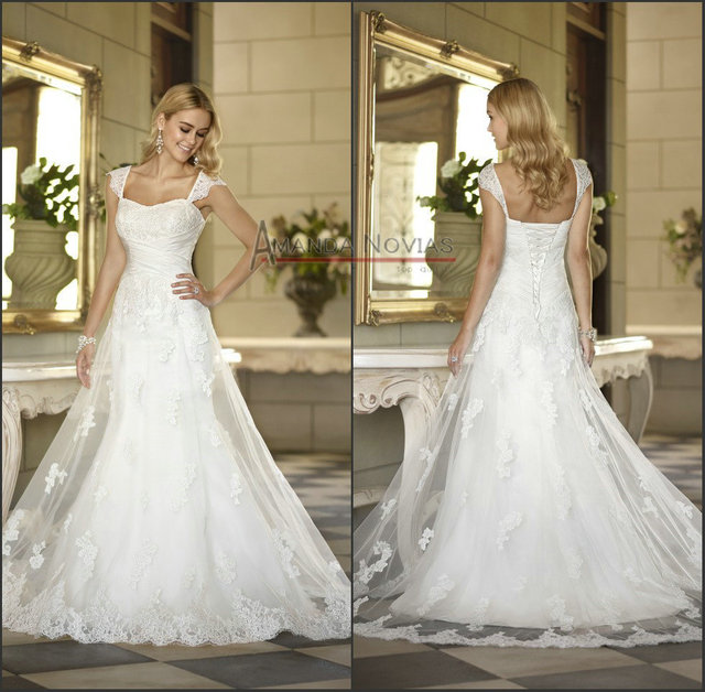 ca5467efc202d Cap sleeve mermaid lace wedding dress famous bridal designers-in ...