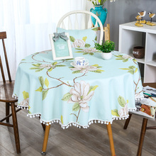 Korean Pastoral Lace Round Table Cloth Waterproof Cover Floral Print Tassel Coffe Tablecloth For Garden Decoration