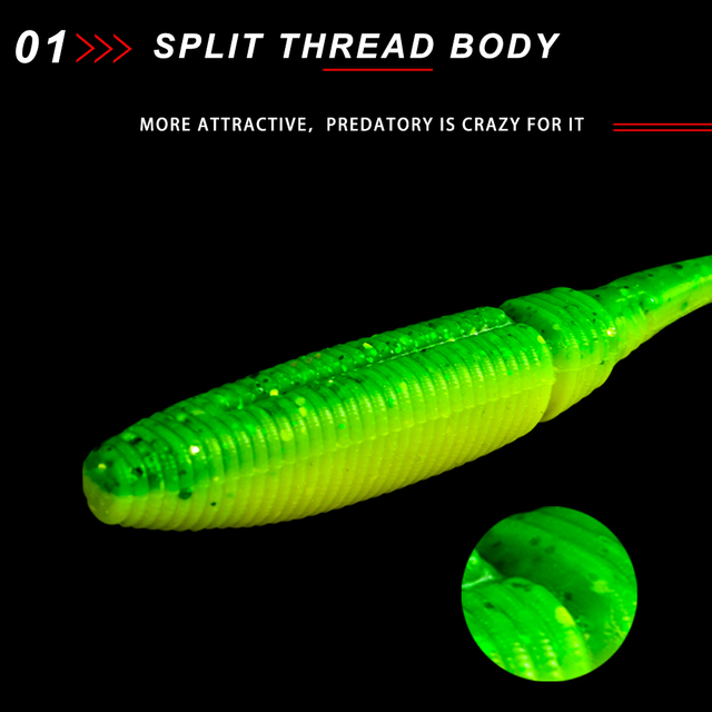 NOEBY SW5019S soft lure silicone bait fishing wobblers T tail 8.5cm 10cm 11.5cm 13cm 15cm for freshwater bass pike 5