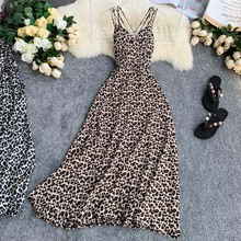 New Women Sexy Dresses 2019 Summer V-neck Strap Vintage Leopard Pinted Long Robe Beach Wear Boho Bachless Dress