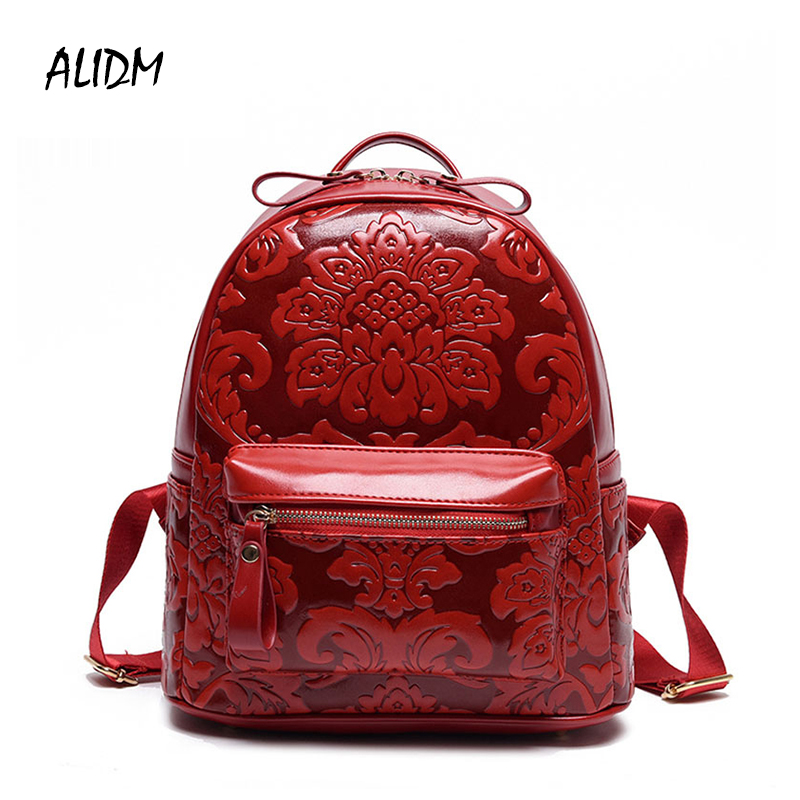 Vintage High Quality PU Leather Women Backpacks For Teenage Girls Floral Printed School Bags Travel Leisure Backpack Mochila Sac