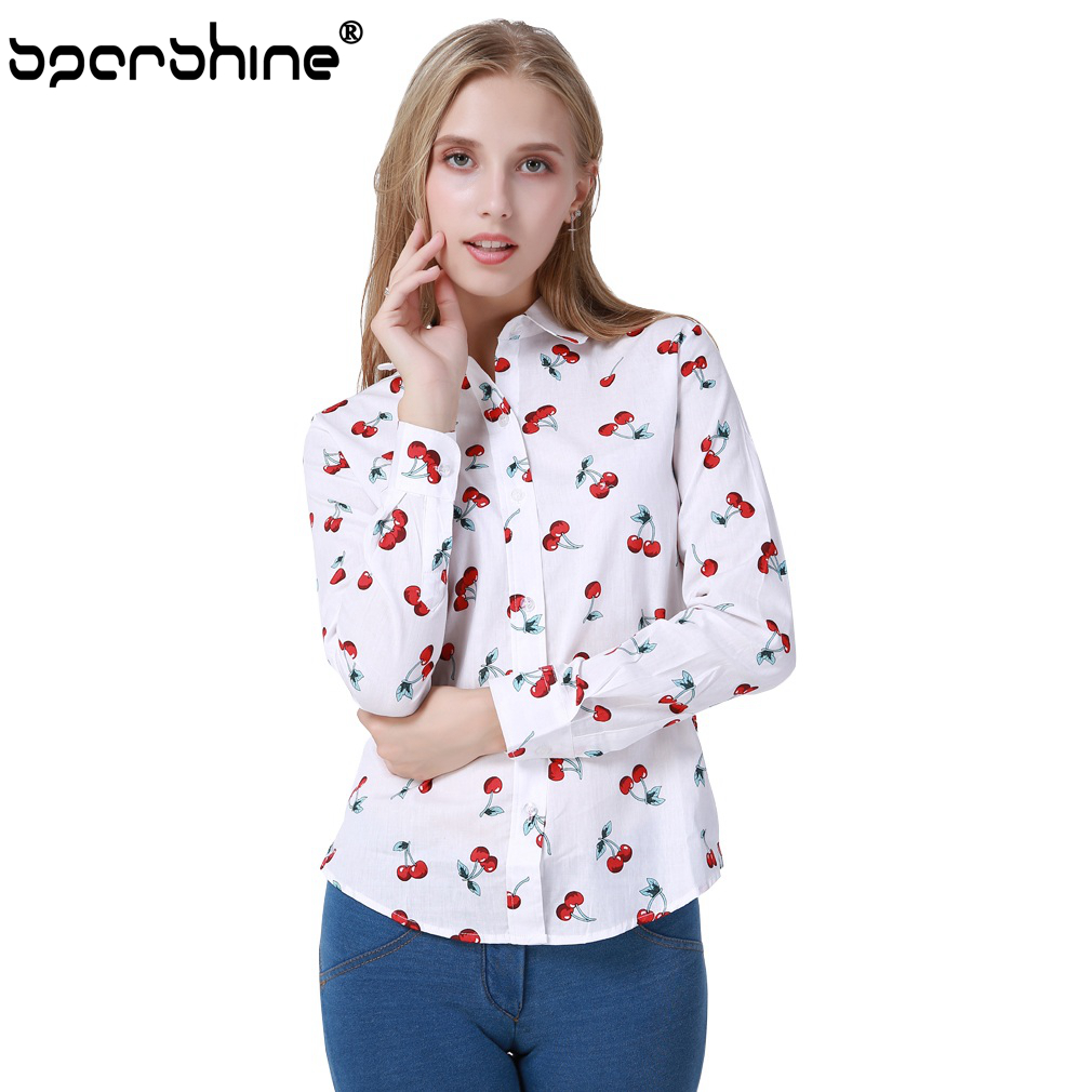 SPARSHINE Blouse Women Clothes 2017 Floral Cherry Printed Blusas Shirt Blusa Feminina 5XL Plus Size Female