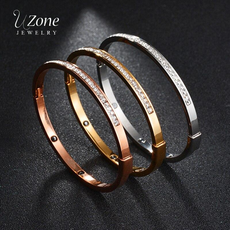 UZone 3 Colors Titanium Steel Charm Bangle Gold/Silver/Rose Gold Tension Setting Bracelet Bangle AAA Cubic Zircon Women Jewelry