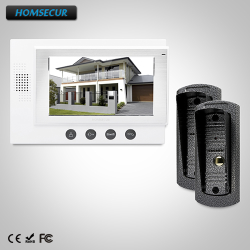 HOMSECUR 7 Hands-free Video&Audio Home Intercom+Metal Case Camera for Apartment: TC041 Camera + TM701-W Monitor (White)
