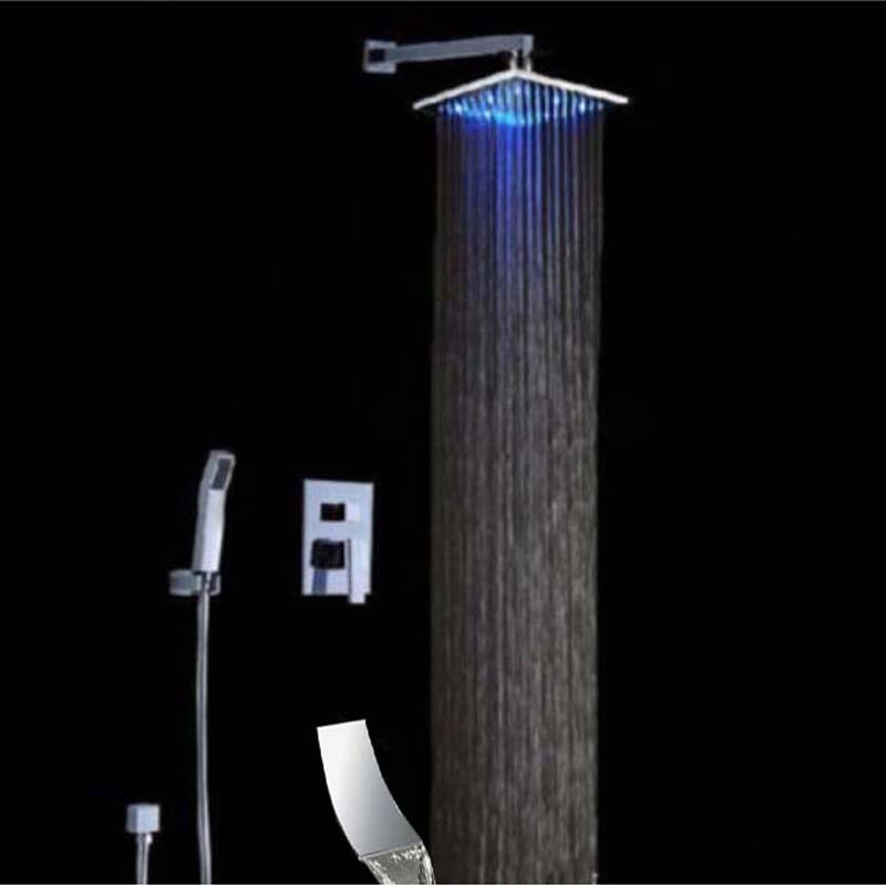 LED Square Rain Shower Head Waterfall Spout Hand Sprayer Mixer Tap Shower Faucet встраиваемый электрический духовой шкаф hansa boei62030030