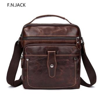F.N.JACK Men's Slung Shoulder Bag Oil Wax Leather Retro Square Handbag Genuine Leather  Business Bags Messenger Bag for Men 2019