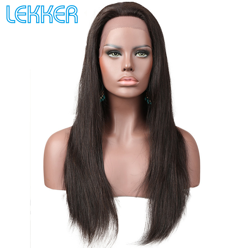 Lekker Brazilian Straight Lace Front Human Hair Wigs With Baby Hair 10-20inch Natural Black Density 150% 13*4 Lace Frontal Wig