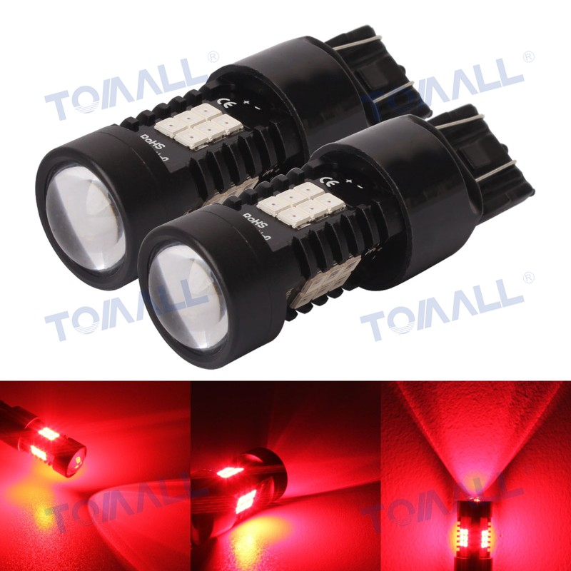 2pcs 360 Degree Auto Driving Lamps 780lm T20 7443 1157 bay15d High Power LED Car Tail Brake Lights Red 10.5W 21-2835smd