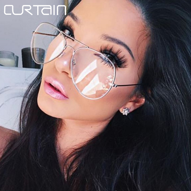 2017 Aviation Alloy Metal Frame glasses Pilot Classic Optics Eyeglasses Transparent Clear Lens Women Men Sunglasses Optical 3026