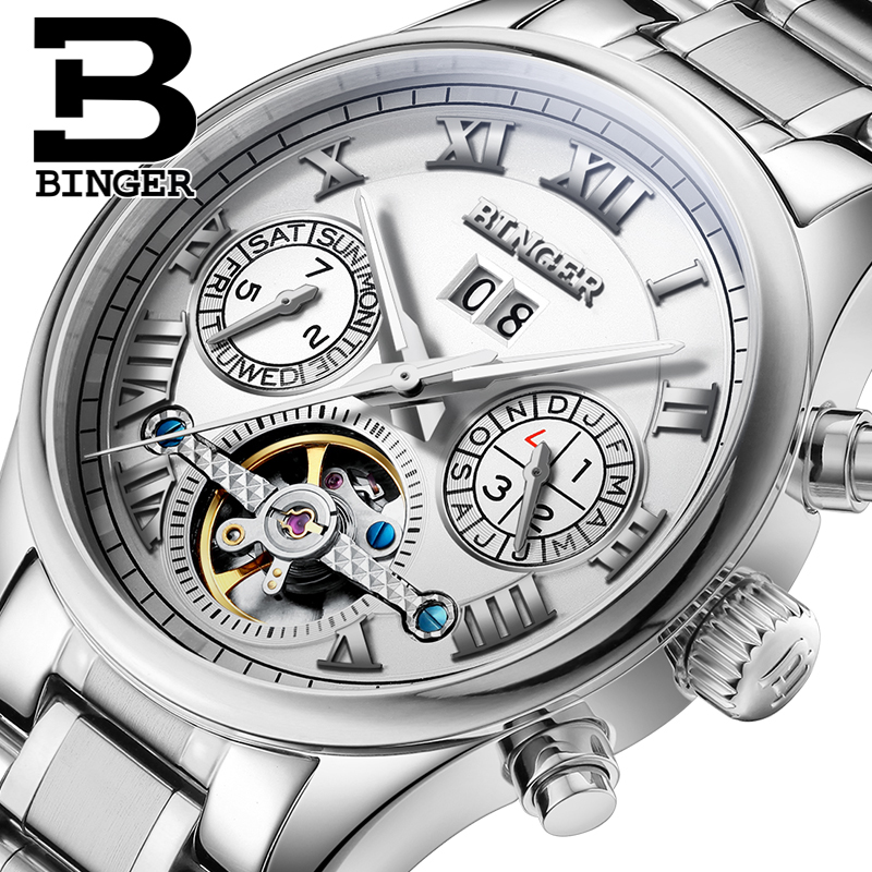 Switzerland BINGER men's watch luxury brand clock Tourbillon sapphire luminous multiple functions Mechanical Wristwatches B8602 автосигнализация без автозапуска starline a63