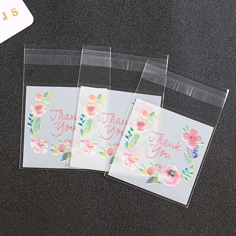 100pcs Thank You Candy Bags Plastic Self-Adhesive Cookie&Candy Packaging Bag For Wedding Birthday Party Cellophane Gift Bags