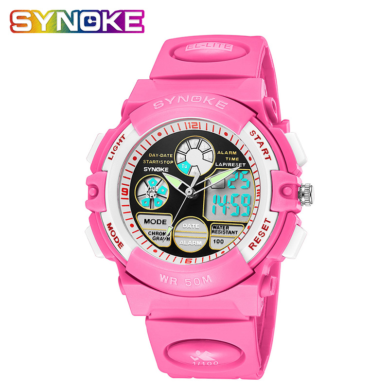SYNOKE Kids Watch Top Hot Selling Waterproof Digital Watches Fashion Back Light Children's Age Girl Watch Alarm Clock Strap
